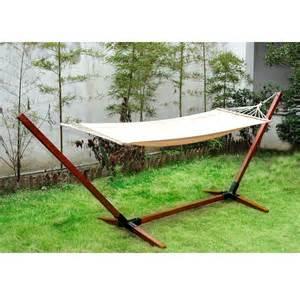 outsunny hamac de jardin avec support en bois hamac sur