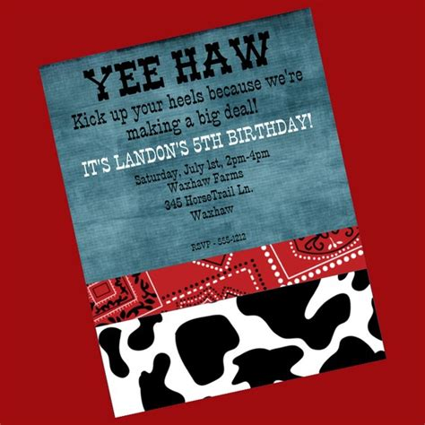 cowboy invitation template 8 best images of printable western birthday invitations