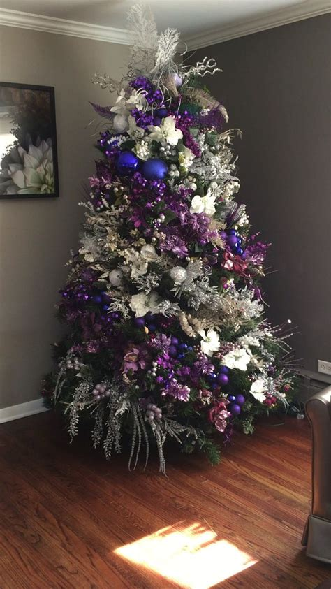 christmas tree purple and silver christmas trees
