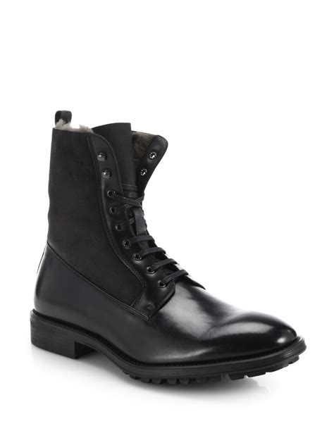 to boot edwards shearling lined leather boots in black for