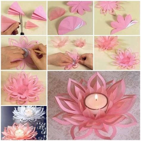 How To Make A Paper Candle Holder - learn how to make a paper lotus candle holder find