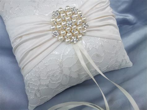 ivory ring bearer pillow satin sash lace ring pillow pearl