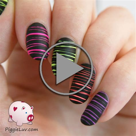 Nail Art Design Video Tutorial | piggieluv video tutorial neon sugar spun nail art