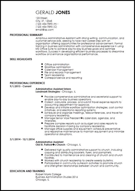 Resume Examples For Administrative Assistant Entry Level by Free Entry Level Resume Templates Resumenow
