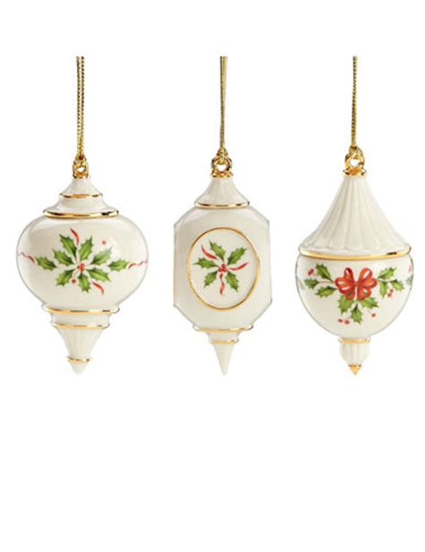 lenox holiday traditions ornaments set of 3