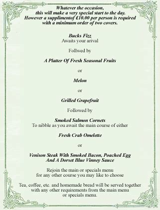 Cozy Cottage Menu by The Cottage Breakfast Menu 28 Images Efford Cottage Everton B B Accommodation Menu The