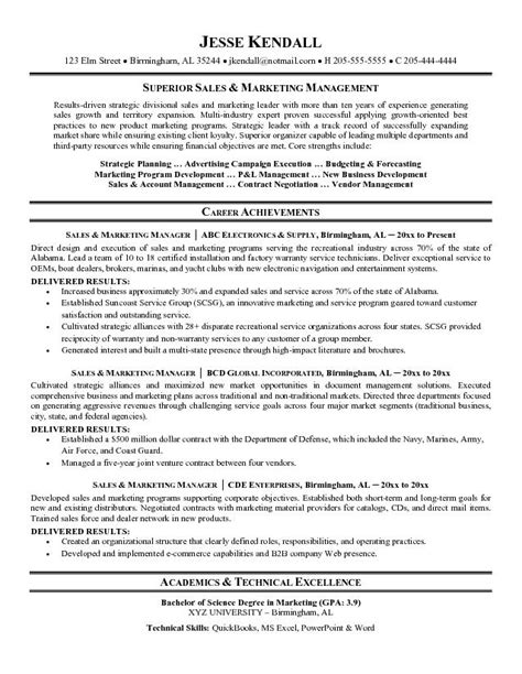 sales marketing resume sle sle resume for marketing and sales manager sle sales