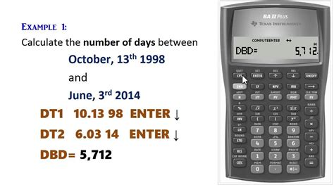 calculator days ba ii plus calculating dates days month day year