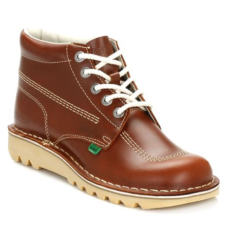 Kickers New Shingkay Leather Brown kickers mens ankle boots brown kick hi leather lace up