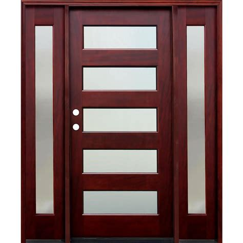 Glass Panel Doors Exterior Pacific Entries 70 In X 80 In Contemporary 5 Lite Mistlite Stained Mahogany Wood Prehung Front