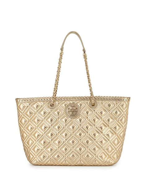 Burch Quilt Small Totepo burch marion small quilted metallic tote bag gold