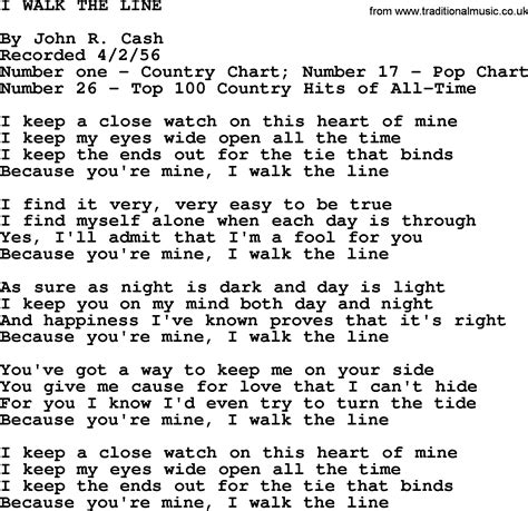 walking the song johnny song i walk the line lyrics