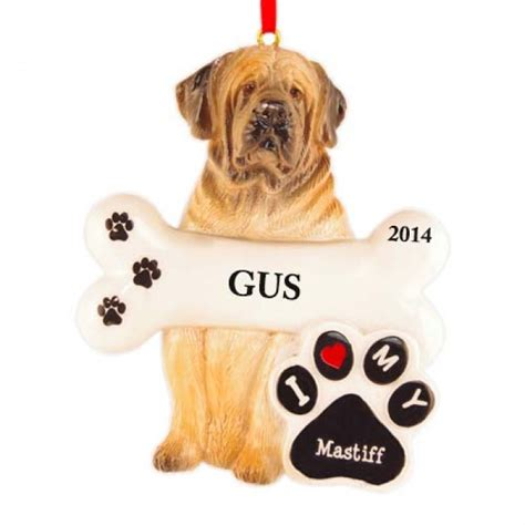 mastiff dog personalized christmas ornament christmas