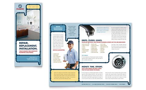 service brochure template plumbing services brochure template word publisher