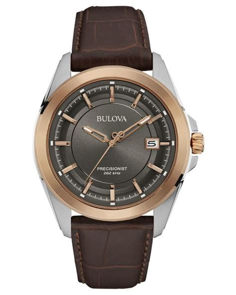 Ac 8492 Rosegold Brown Leather bulova s precisionist brown leather 43mm 98b267 in metallic for lyst