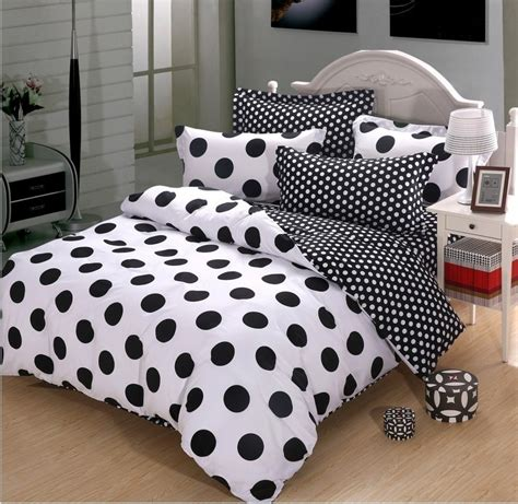 Black And White Polka Dot Cotton Duvet Cover Bedding Black