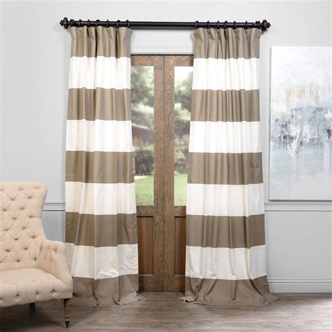 tan striped curtains outdoor