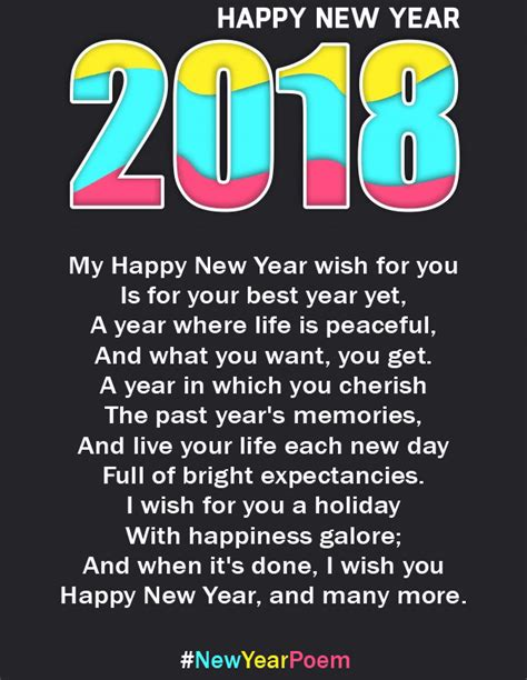 new year poem happy new year 2018 poems for him
