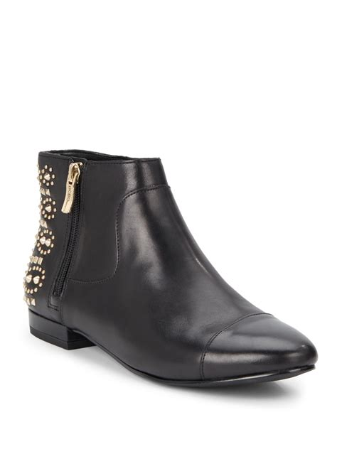 studded boots bcbgeneration logann studded leather ankle boots in black