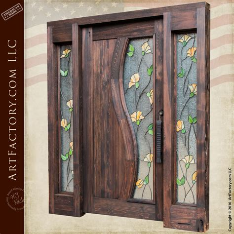 tulip stained glass door craftsman entry door  sidelights