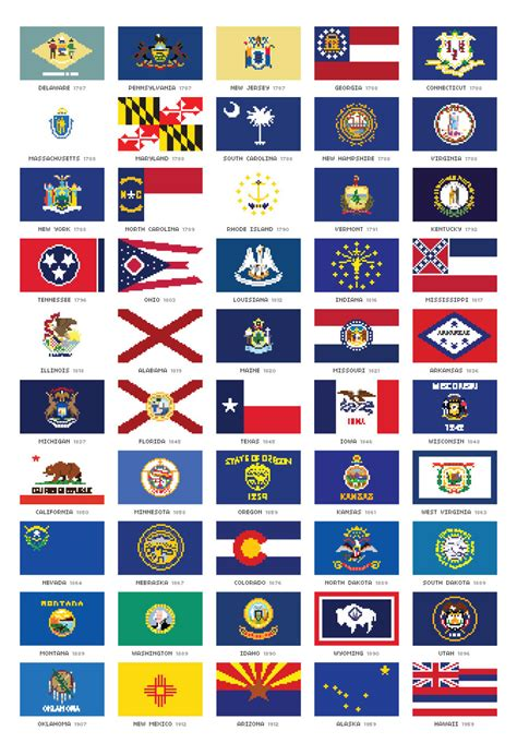 free printable us state flags oktotally i made pixel versions of all 50 state flags of