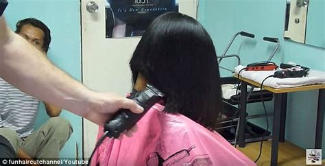 Haircut Games With Clippers | hair dressers are slicing off women s hair using men s