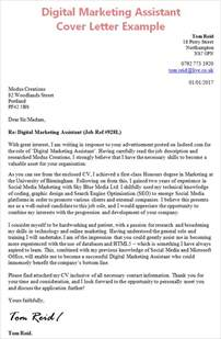 marketing position cover letter digital marketing assistant cover letter with work experience