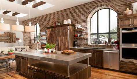 Mur 10 Stainless Blue brick accent wall in contemporary loft kitchen