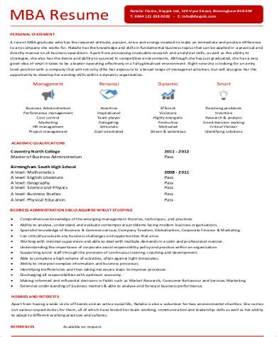 Mba Marketing Profiles by Sle Mba Marketing Resume 6 Exles In Word Pdf