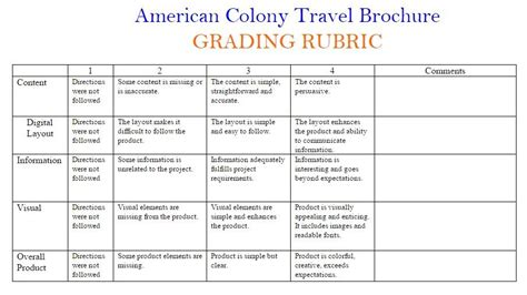 flyer design rubric 13 colonies travel brochure cherry valley springfield