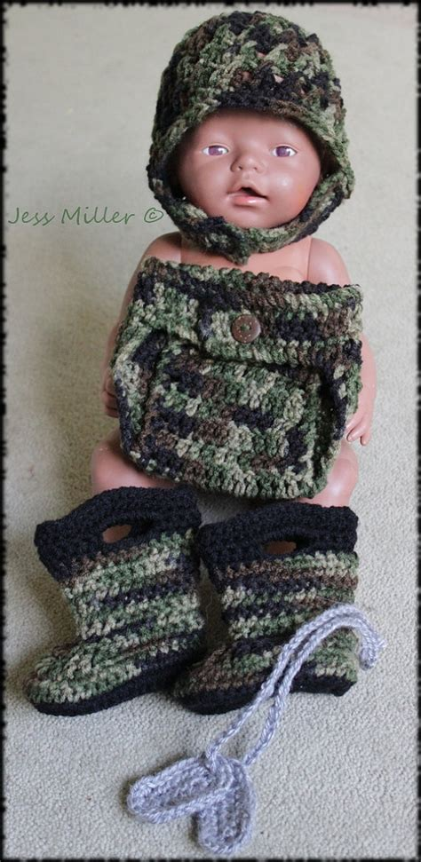 army pattern boots crochet army helmet boots diaper cover and dog tag set