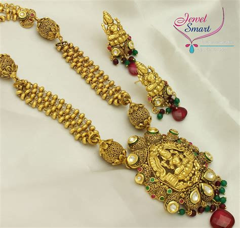 temple jewelry long necklace earrings gold antique imitation