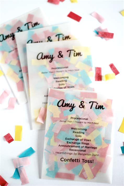 unique wedding program ideas diy diy confetti ceremony programs floral and event design by edgemont design