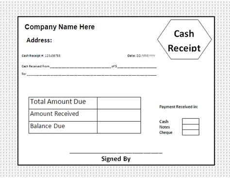 photo free cash receipt template images