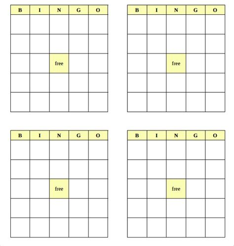 free template of a bingo card blank bingo template 15 free psd word pdf vector eps