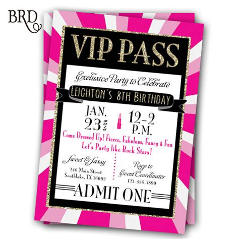 vip pass invitation template vip pass invitation glitz rock printable