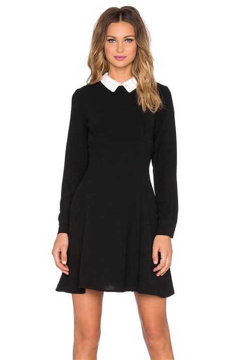 Wst 13559 Ruffle Sleeved Dress Black lyst kate spade new york sequinned collar crepe dress in