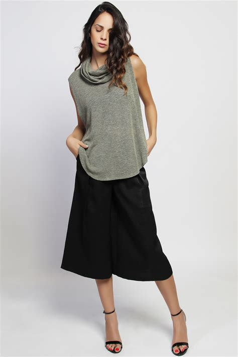 draped cowl neck sweater themogan sleeveless draped cowl mock neck loose fit knit