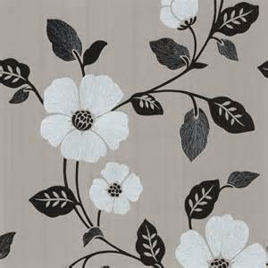 Modern Floral Wallpaper by Zync Silver Modern Floral Wallpaper Contemporary