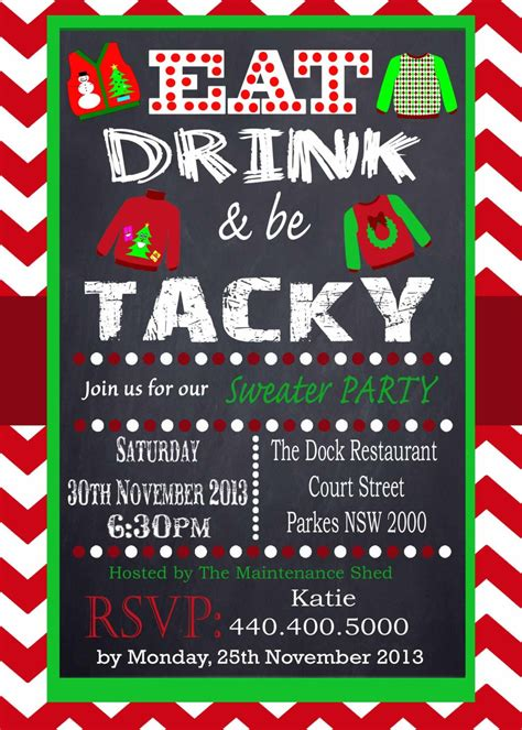 creative christmas party names tacky sweater invitation chevron chalkboard uly