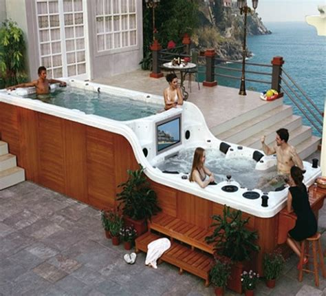 themes for hot tub parties fancy spambient s hot tub with built in tv and bar is