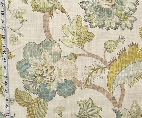 House Of Fabrics Upholstery Fabrics by Indienne Fabric Jacobean Floral Gold Blue Aqua From Brick