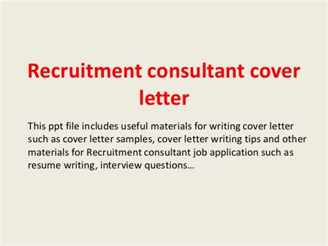 cover letter for recruitment consultant recruitment consultant cover letter