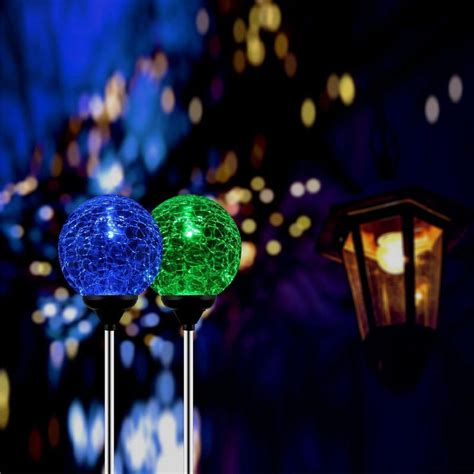 Stainless Steel Solar Power Color Changing Led Crackled Solar Lights That Change Color