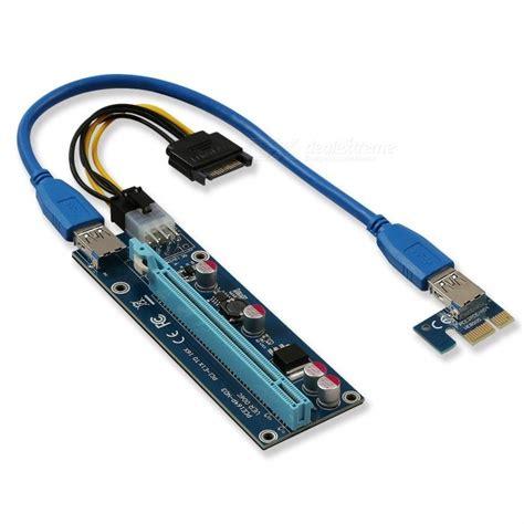 Pci E Pcie 1x To 16x Gpu Extender Riser 6 Capacitors 6 Pin Dc 60cm Cab kitbon usb 3 0 pci e 1x to 16x riser adapter card extender