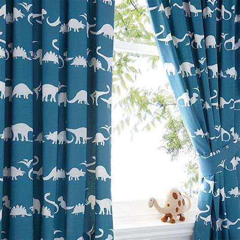 childrens dinosaur curtains bluezoo kids blue dinosaur print curtain set debenhams