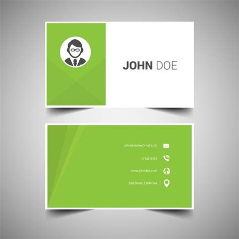 Green Business Card Template Vector by Green Business Card Template Vector Free