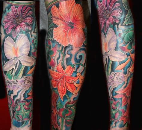 flower sleeve tattoo unique tropical flower tattoos for the map