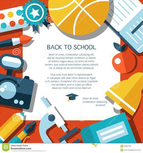 vector school flat design flyer template stock vector