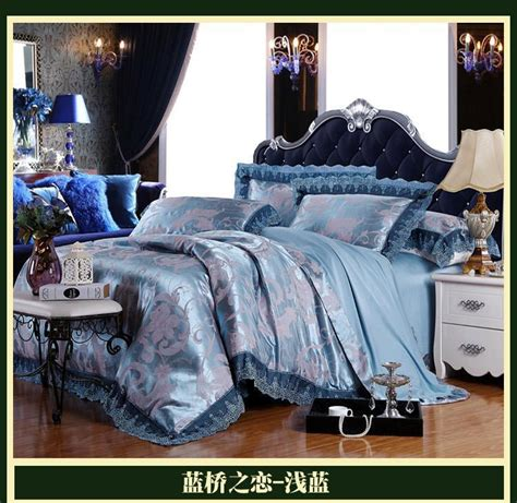 home design brand sheets blue luxury brand lace satin jacquard bedding comforter